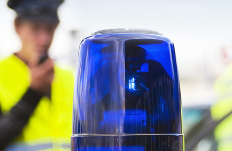 a close up of a car siren on a police car