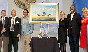 Pictured above from left to right: Robert Sadlemire, Artist, HGTC President Neyle Wilson, Thomas Davis, Artist,  Jessica Jackson, Global Corporate Citizenship, Boeing South Carolina, Frank Hatten, Boeing Education Relations, and Marsha Griffin, Marsha Griffin & Associates