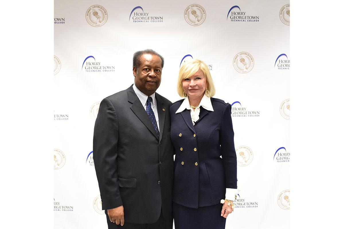 Representative Carl Anderson (Georgetown) with HGTC President Marilyn Fore after the press conference. College officials see this program not only as a win for HGTC and the Navy, but also for Horry and Georgetown Counties' workforce training and economic development.