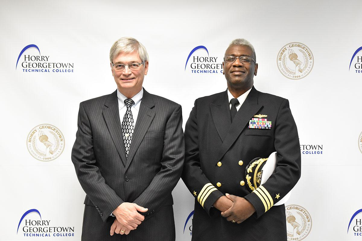 HGTC Professor Stan Greenawalt, a retired Navy Captain, with SPAWAR Executive Officer Commander Jeffrey Williams, USN, after the press conference.