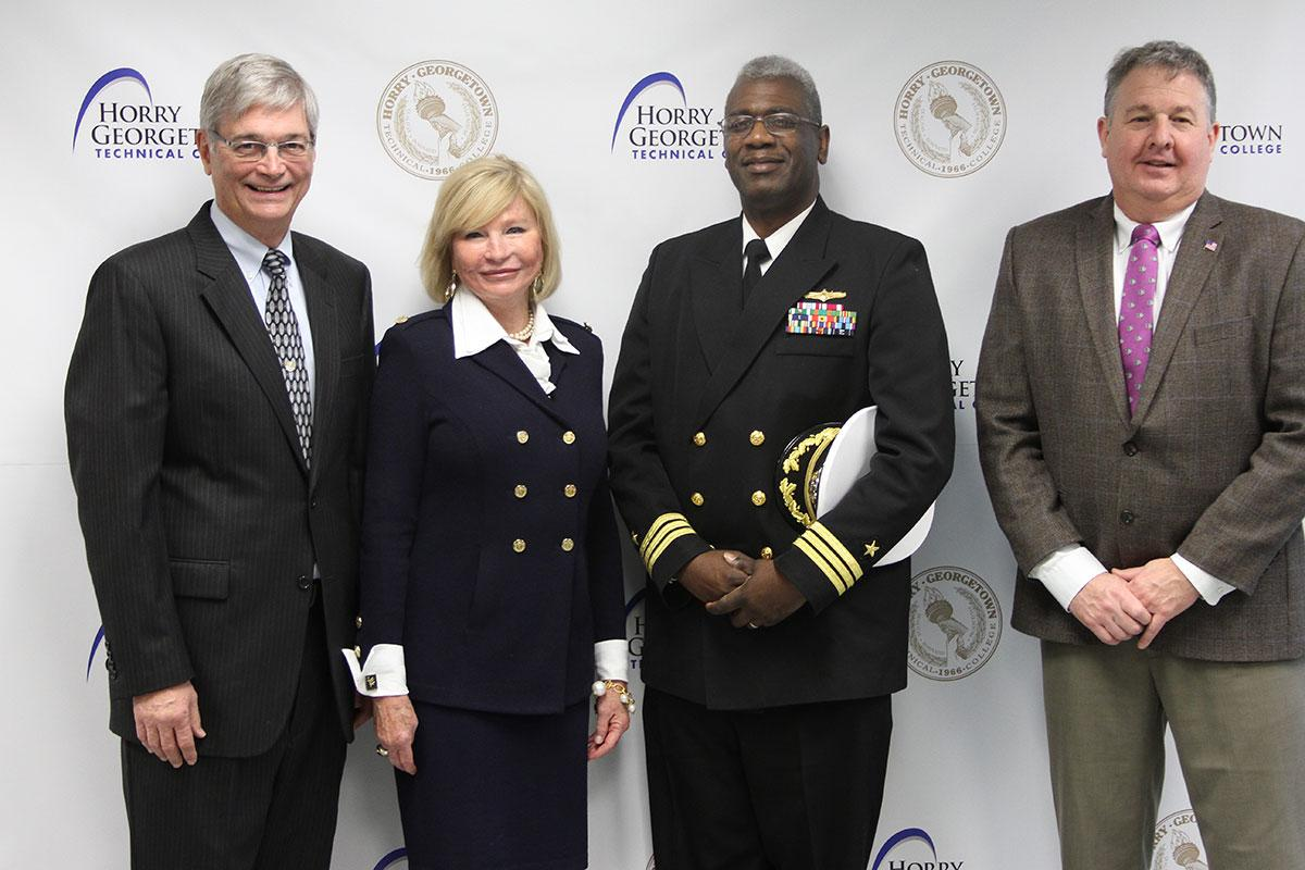 HGTC Professor Stan Greenawalt, HGTC President Marilyn Fore, SPAWAR Executive Officer Commander Jeffrey Williams, USN, and SPAWAR Deputy Mission Assurance Competency Joe Henline at today's press conference.