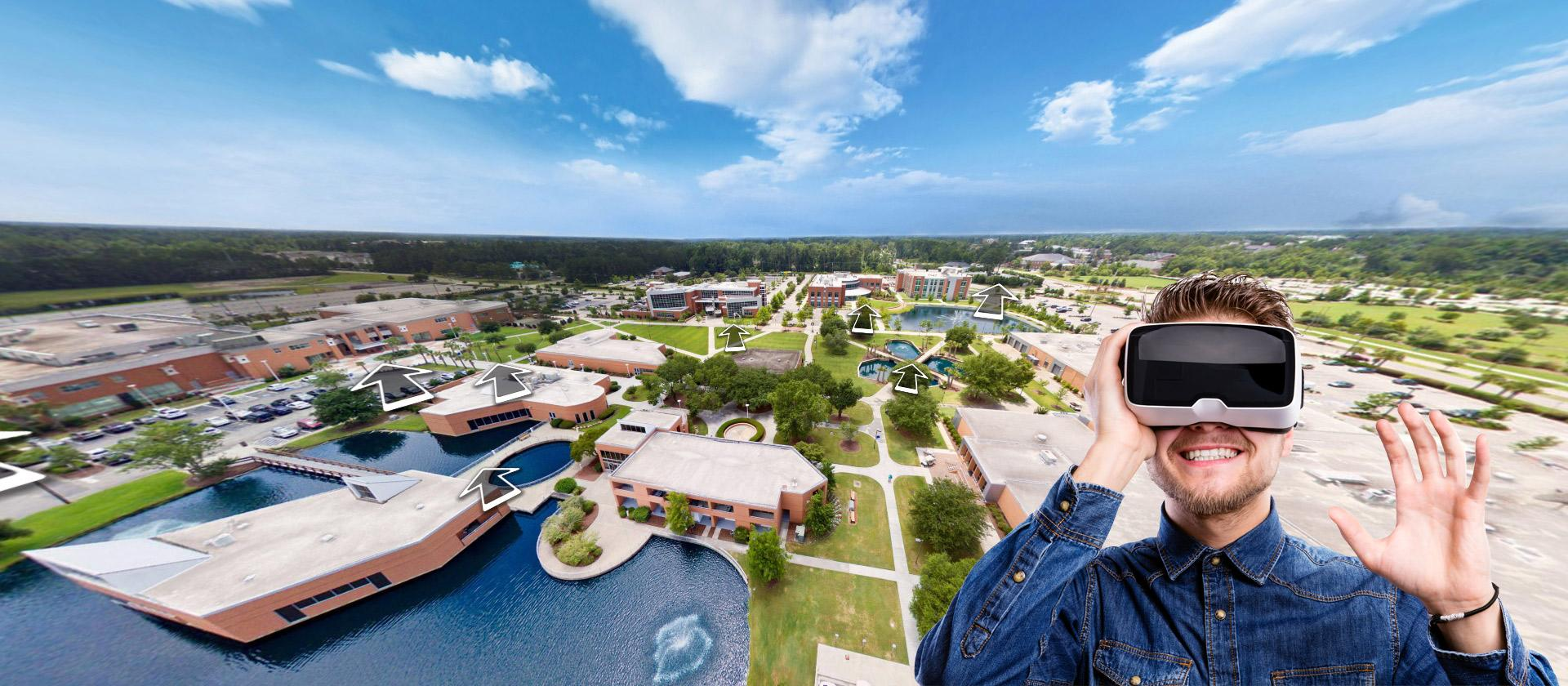 Take a 360-degree tour of each of our campuses, either on your desktop, laptop, phone, or VR headset.